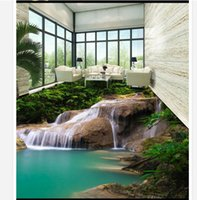 beauty wallpaper light - D pvc floor painting custom mural wallpaper Romantic waterfall water on enhancing d floor stickers beauty home decoration