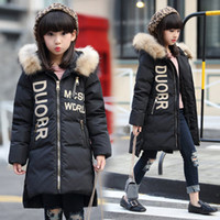 Wholesale The children down jacket girls long kids new Korean girls in winter thickened children Hooded Jacket
