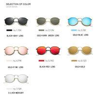 Gafas de sol de metal de lujo Hombre gafas de sol ronda Steampunk gafas de recubrimiento Vintage Lentes al aire libre de gafas de hombre