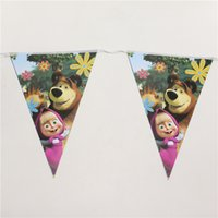 Wholesale cartoon masha and the bear theme party paper flags set banner including small flags kids birthday party favor m
