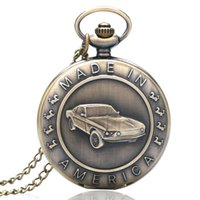 antique car tags - Bronze Mustang Pattern Car Quartz Pocket Watch with Key Chain Male Female Clock Reloj de Bolsillo