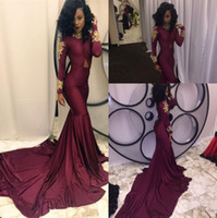 african american classics - 2017 Modern African Americans Gold Appliques Burgundy Mermaid Prom Dresses High Neck Long Sleeves Sweep Train Formal Evening Gowns BA3867