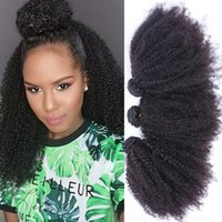 achat en gros de armure de couleur afro frisée-2017 Hot Sale Afro Kinky Curly Human Hair Weave 3Pcs Lot 10