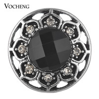 antique button hooks - Vocheng Noosa Trendy Crystal Snap Antique Silver Plated Metal Snap Button Accessories Popper Jewelry for Women Vn