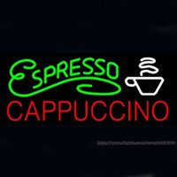 Wholesale Espresso Cappuccino Neon Sign Handmade Custom Real Glass Tube Coffee Store Shop Bar Pub Club Commercial Display Neon Signs Light X14