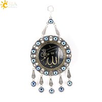 arabic jewellery - CSJA Islamic Muslim Big Hanging Pendants Shahada Pendulum Antique Silver Plated Charms Lucky Gifts Jewellery Arabic Ramadan Eid Peace E291