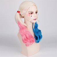 Wholesale 2017 New Hotest Fashion Popular movie Suicide Squad Harley Quinn Female Clown Cosplay Halloween Anime Curly Gradient Wigs