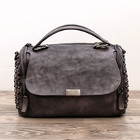 Wholesale Genuine Leather Women Handbag High quality Cowhide Female shoulder bags Casual Handmade vintage color bags for Ladies teenager girls
