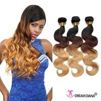 Extensiones al por mayor del pelo de Ombre tres tono 1B / 4/27 # Remy cabello humano Ombre onda brasileña del cuerpo de tejer pelo humano Bundles 3pcs / lot