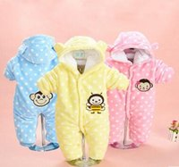 baby winter coverall - Cute Autumn Winter Cotton Polyester Baby Romper Long Sleeve Coverall Hooded Infant Jumpsuit with Bear Logo One Piece for Toodler
