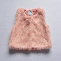 Wholesale Y campera de invierno bebes Girls Faux Fur Waistcoat winter vest for girls Autumn Kids coat colete outwear girls vest