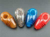 Wholesale Various Heady colors Glass Smoking Pipes Mini Handmade Pipes cm height with pretty good work Low Price