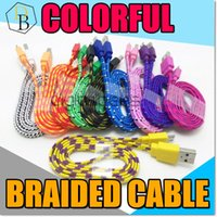 copper wire - v8 Micro USB Braided Cable Colorful Noodle Charging Copper Wire M ft m ft Nylon flat Woven For Samsung Galaxy S7 Edge