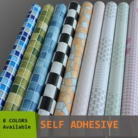 Wholesale Meters Roll Self adhesive mosaic wallpaper peel stick oil waterproof PVC vinyl tile wall paper for kitchen bathroom window wall