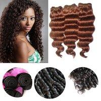 9A Indian Remy Weave 100% Virgen Extension des cheveux bouclés humains Deep Wave 3 lots Lot Longueur mixte # 33 Auburn foncé Hairstyle Machine Trame