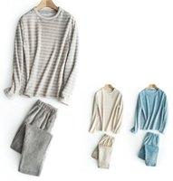 Wholesale Ms plush pajamas couple of flannel pajamas male stripe leisurewear thickening coral fleece