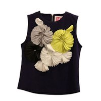 T-shirt de femmes d'été de mode de la vente en gros-plus tard de mode T-shirts de femmes d'impression de fleur de mode 3D de femmes de coutures d'O T-shirt sans manches sauvages de femelle 71190