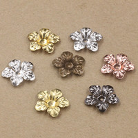 antique gun parts - 07462 mm antique bronze silver rose gold gun black filigree flower charms for jewelry parts bead cap making necklace pendant for bracelet
