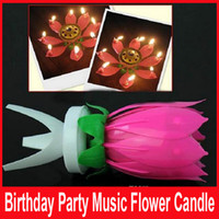 Wholesale Birthday party Music Flower Candle New Lotus Music Candles Happy Birthday Music Flowers Birthday candles Flower candles