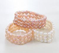 al por mayor pulsera de tres cuerdas-Pulsera de perlas perfectas, pulsera de cuerdas elásticas, 6.5inches tres filas pulsera de perlas de agua dulce de color natural.