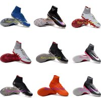 Wholesale Cheap new mens soccer cleats hypervenom phantom jr soccer shoes mercurial superfly cleats football boots cr7 mens outdoor football shoes