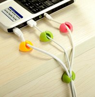 Wholesale Free Ship Colorful Cable Drop PC Cable Clips Organizer Smart Blue Lounge Bright Muted line fixer