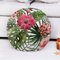 Wholesale 30 Round Cushion Covers Hibiscus Flowers Throw Pillows Covers Tropical Cotton Line Cushion Pillow Cases Without Inner