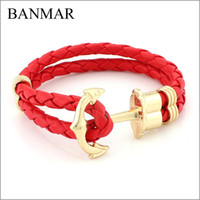 best friends arm - BANMAR High Quality PU Leather Anchor Bracelet Men Charm Arm Cuff Bracelet for Women Best Friend Gift Summer Style Fashion