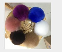 Wholesale Imitation fox Fur Ball Keychain fluffy keychain fur pom pom llaveros portachiavi porte clef Key Ring Key Chain cm