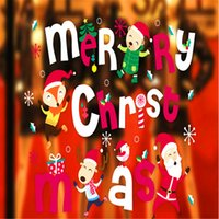 Wholesale New Year Popular Christmas Decoration Glass Window Stickers Santa Claus And Animals Sitting Room Bedroom Wall Stickers