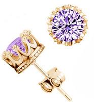 Wholesale Korean factory direct gold plated silver earring luxury Korean wedding crown earrings zircon earring earrings