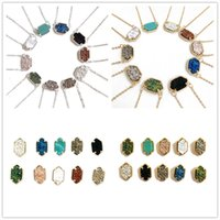 Hot Populaire Kendra Scott Druzy Collier Boucles d'oreilles Divers 10 Couleurs Silver Gold Plated Geometry Drusy Stone Colliers stud Best for Lady