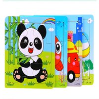 Wholesale 5pcs Wooden toy cartoon animal puzzle jigsaw puzzle toy wooden jigsaw puzzle board child toy baby learning education toys