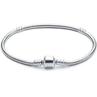Wholesale 3mm cm Bracelet Snake Chain with Barrel Clasp Fit European Beads Bracelets With Without Logo DIY