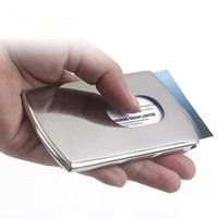 Wholesale Vogue Thumb Slide Out Stainless Steel Pocket ID Credit Card Holder Case Business Card Holder JF