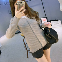 Women beam standards - Spring and Autumn New Sweater Cardigan Sweater Crimping Round Neck Sweater Slim Beam Waist Pumping Of large Size Coat