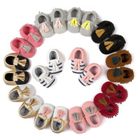 Wholesale Baby Stripe First Walker Shoes Infant Boys Girls Moccasin Newborn Soft Bottom Non slip Baby Shoes Kids Toddler Leather Prewalkers Shoe F379
