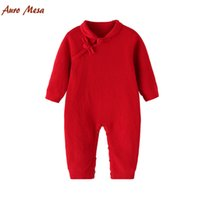 baby onesie lot new - New Spring Chinese Red Baby Cheongsam Knitting Baby Red Romper Chinese Classical style Baby Onesie Clothes