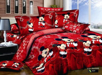Wholesale Mickey Mouse Cartoon red contracted cotton bedding sets bedspreads with bed duvet cover sheet comforter sets pc