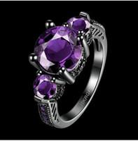 Nouveau Vintage Grenat Rouge Or Noir Rempli Bague Rouge Femmes Bijoux Mariage Anel Aneis Engagement Promesse Anneaux BIjoux Femme LKN18KRGPR867-B-8