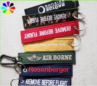 Wholesale 100pcs Customized Remove Before Flight Woven Durable Embroidery Key ring Luggage Lable Tag Zipper Pull Keychain