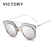 Espejo de cristal clásico España-Gafas de sol clásicas femeninas masculinas del ojo del gato del desgaste de la celebridad de la lente del espejo de las gafas de sol clásicas de las Mujeres-Al por mayor-Hombres Oculos de Sol