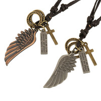 Wholesale YLYjewelry Punk Charm Statement Necklace Pendant Angel Wing Leather Necklace For Women Men Jewelry