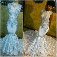Wholesale Gorgeous Silver Beaded Appliqued Long Prom Dress Jewel Neck Soft Satin Mermaid Evening Party Gowns See Through
