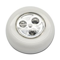 Wholesale Silver Round LED Battery Power Supply Home Wall Light Kitchen Cabinet Wireless Push Touch Lamp LEG_740