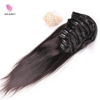 Clip de afroamericanos en extensiones de cabello humano recta 7Pcs / conjunto completo de cabezas pinza de pelo brasileño en extensiones para mujeres negras
