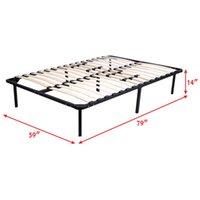 Wholesale Wood Slats Metal Bed Frame Platform Bedroom Mattress Foundation