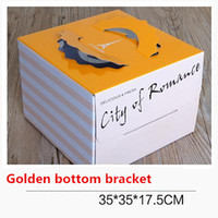 Wholesale Quality food grade corrugated boxes Orange theme birthday cake cases Hand held pastry package box