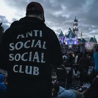 Wholesale ANTI SOCIAL CLUB Kanye west Hoodies Sweatshirts Hip hop tide hooded velvet sweater multicolor