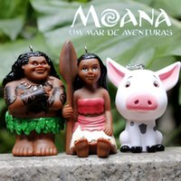 Wholesale Moana movie Moana Waialiki Maui Pua Action Figures toys Pet pig Plastic doll pendant Key ring The head can be rotated